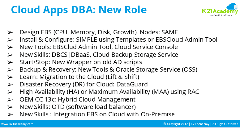 cloud apps dba new role