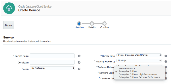 Software editions on oracle cloud database service