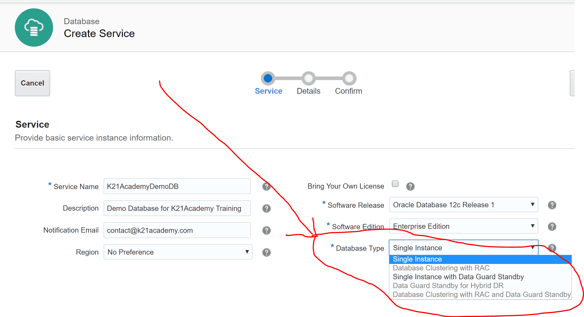 Choose from Database Type