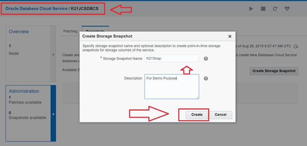 Oracle Database Cloud Snaphot