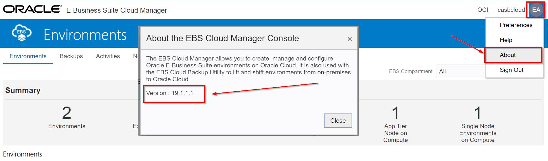 E-Business Suite Cloud Manager Version