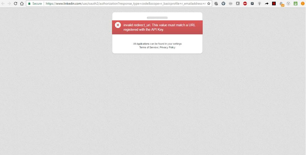 error message for invalid redirect