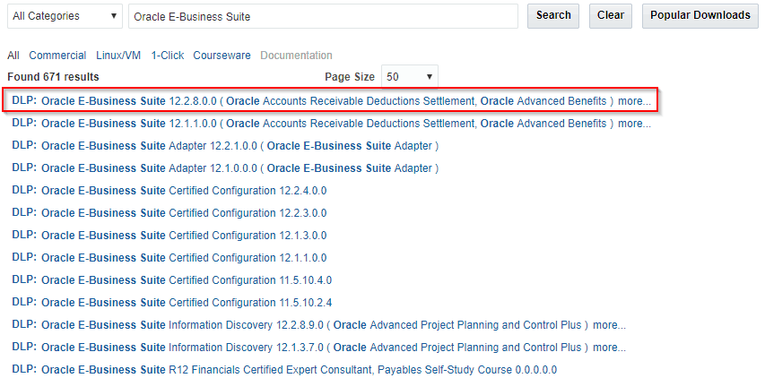 All categories in Oracle EBS 12.2.8