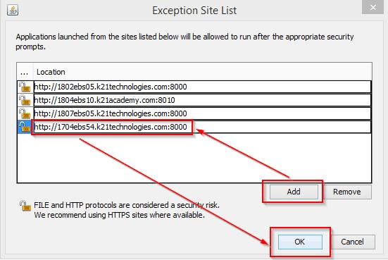 Exception Site List