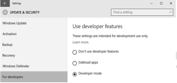 Update and Security section for developer