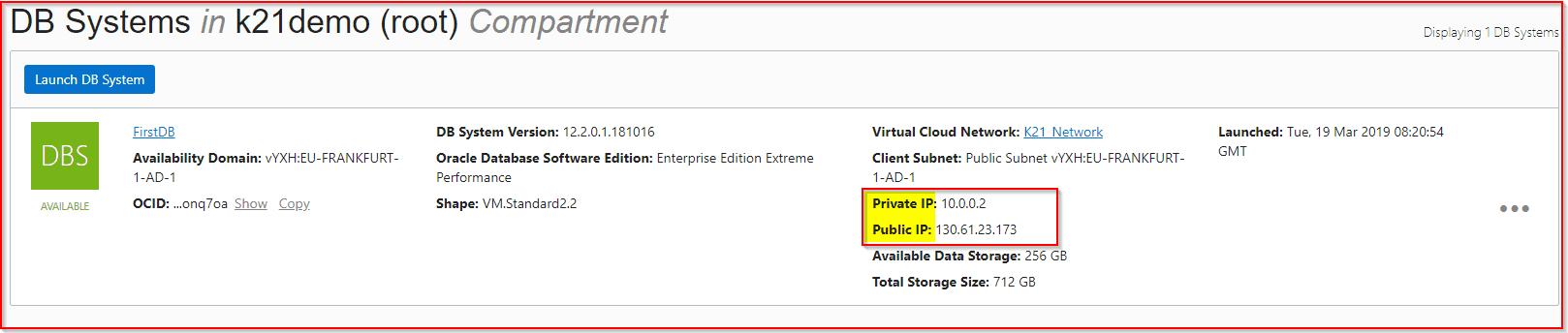 Database Public & Private IP
