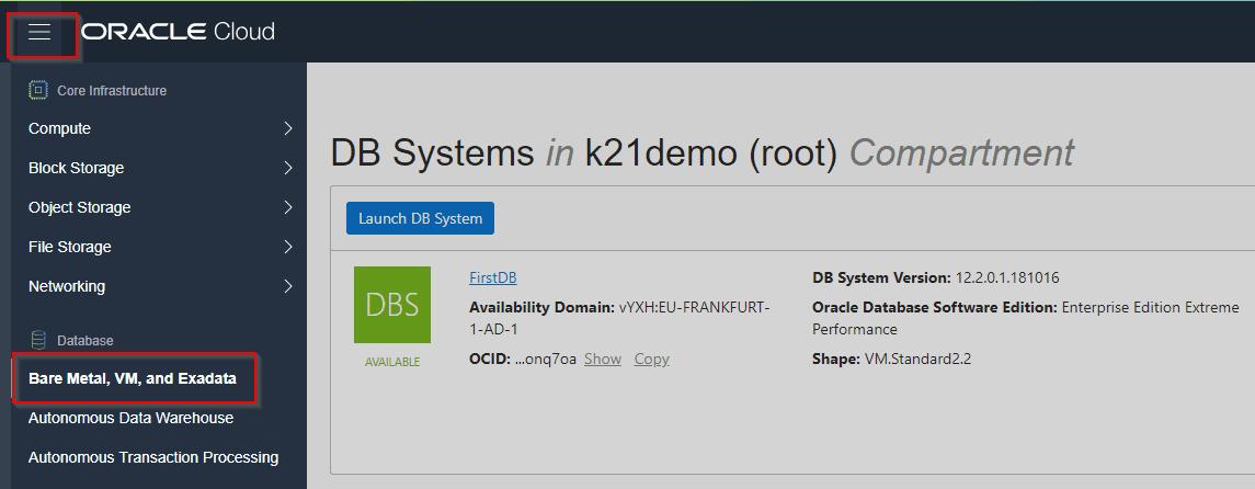 Database on OCI