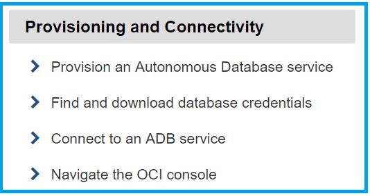 Provisioning and Connectivity Autonomous Database