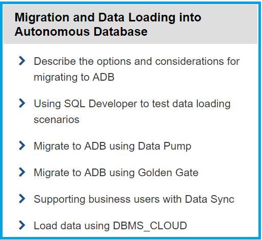Migration and Data Loading into Autonomous Database