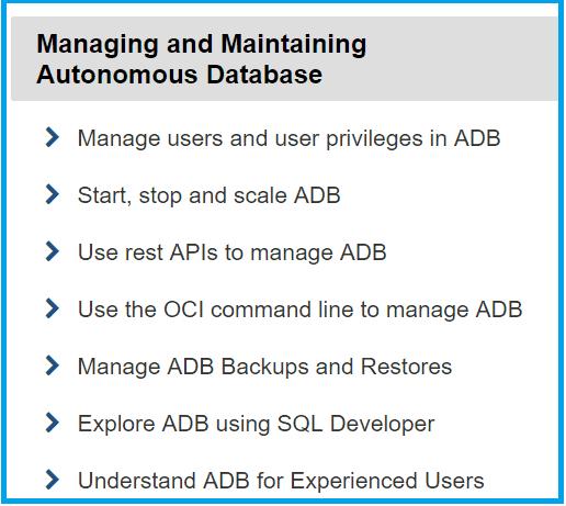 Managing and Maintaining Autonomous Database