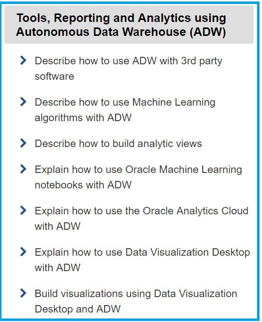 Tools Reporting analytics using Autonomous Data Warehouse