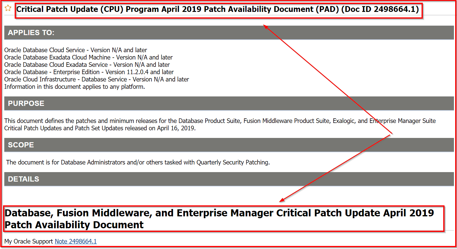Database Patches