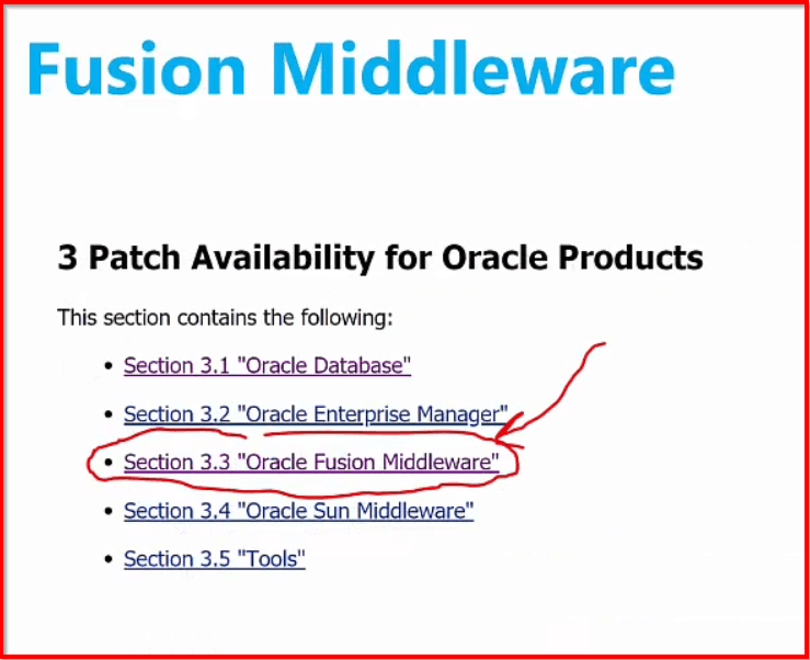 Fusion Middleware Patch