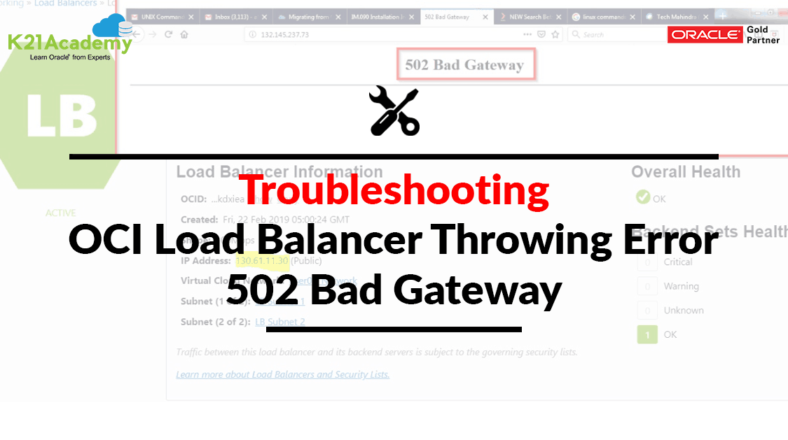 Solved] OCI Load Balancer Throwing Error: 502 Bad Gateway