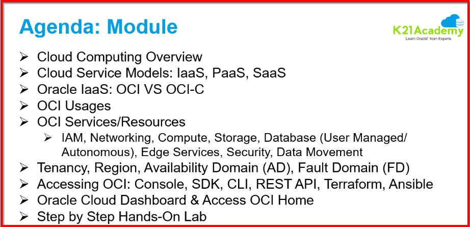 OCI Training Module 1 Agenda