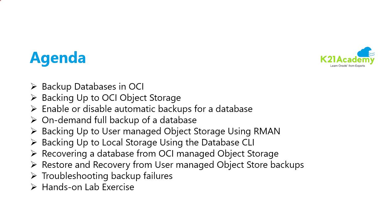 Backup & Restore DB In OCI