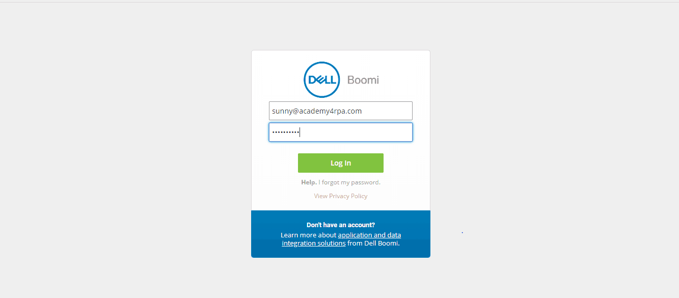 Login Screen_Dellboomi_Platform