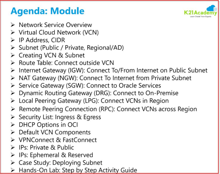 OCI Training Module 3 Agenda