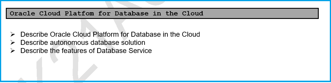 Oracle Cloud Platfom for Database in the Cloud 1Z0-998