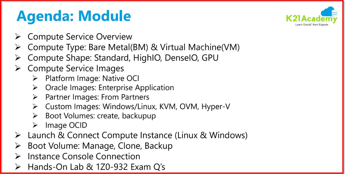 Agenda Module 4: Compute