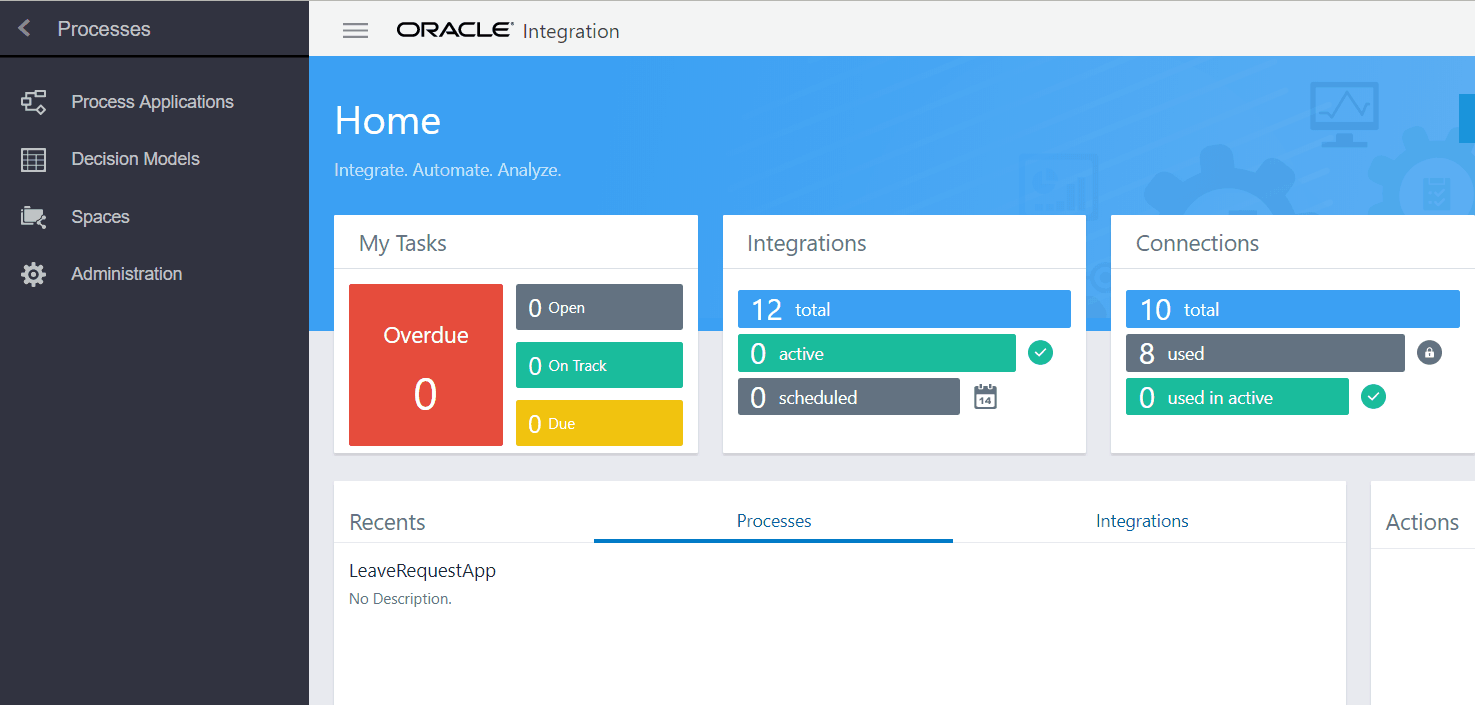 Oracle Integration Console