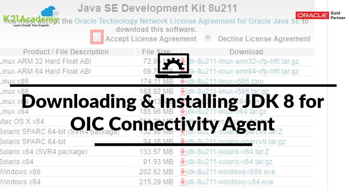 Downloading And Installing JDK 8 for OIC Connectivity Agent