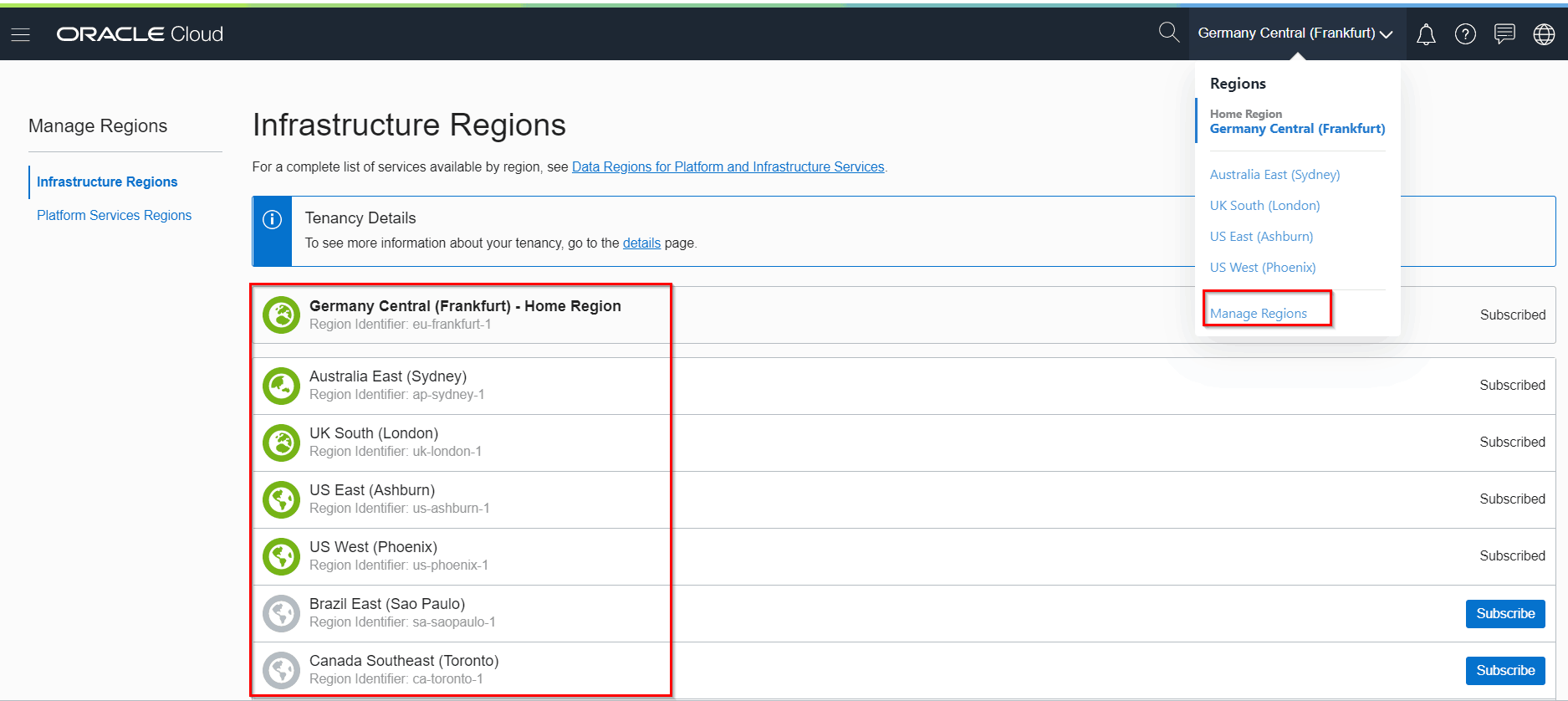OCI Region Console