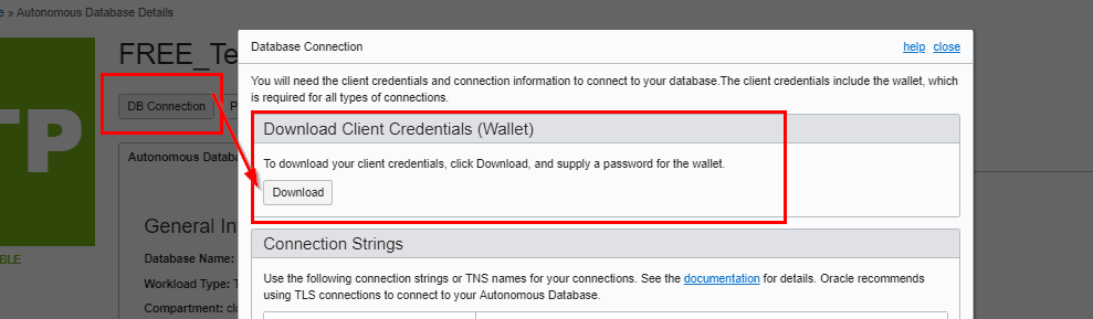 DB Connection Wallet Download