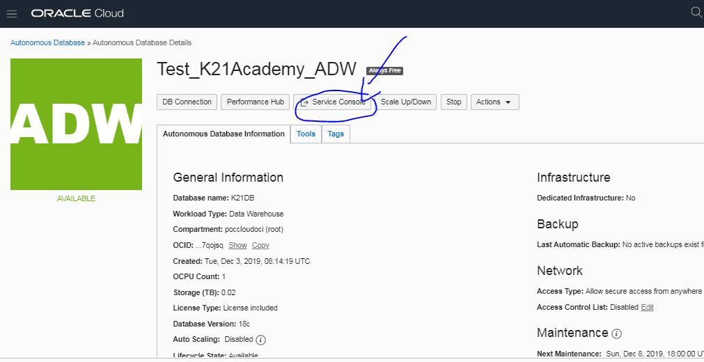 access SQL Developer Web from theAutonomous Data WarehouseService Console