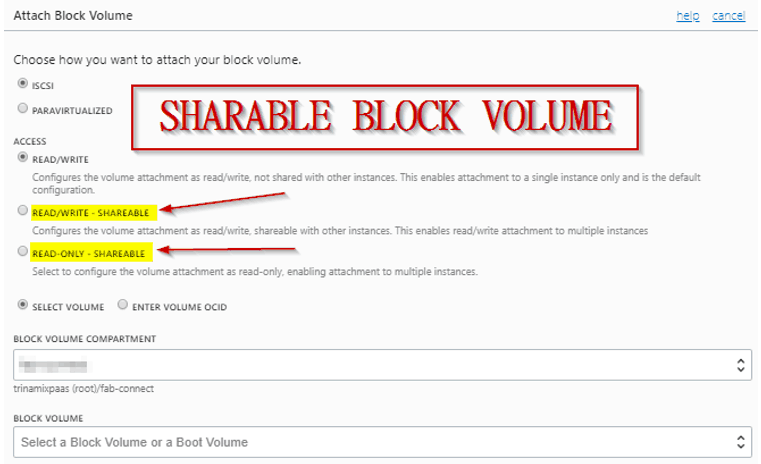 Sharable Block Volume
