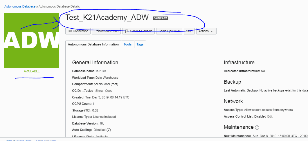 create ADB instance
