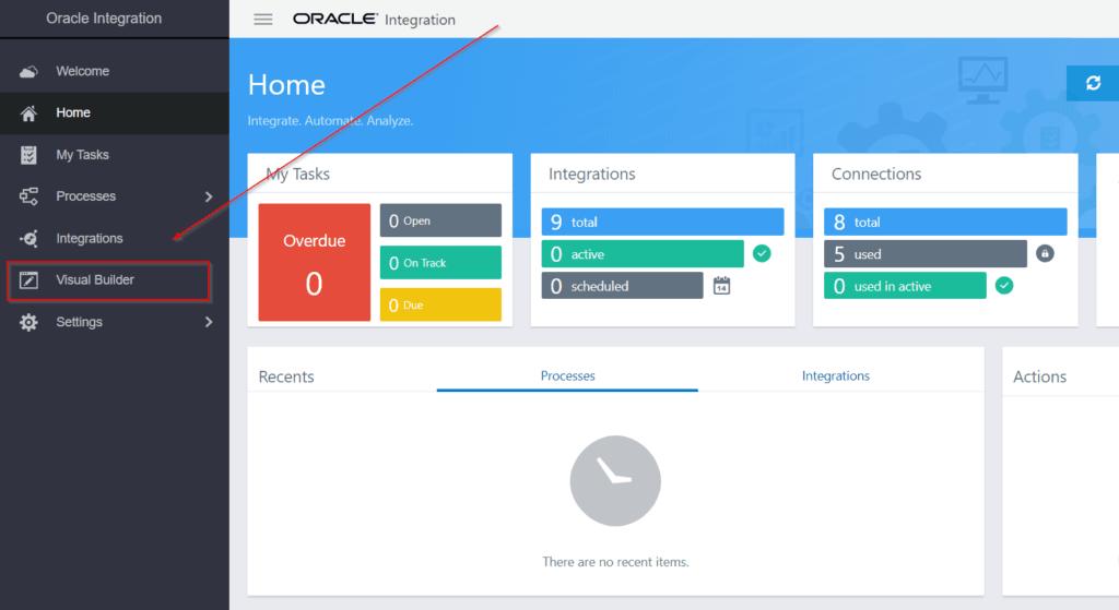 Oracle Integration Cloud Console