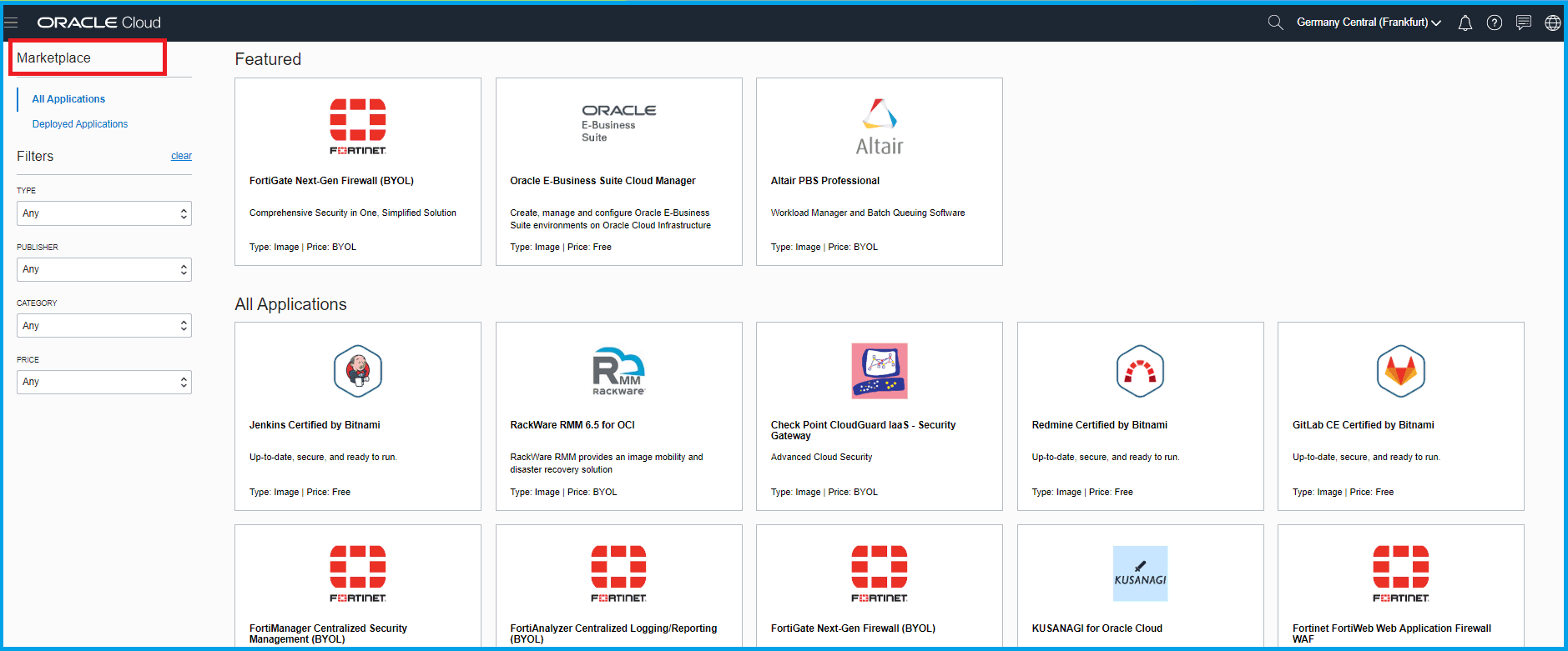 Oracle Cloud Marketplace