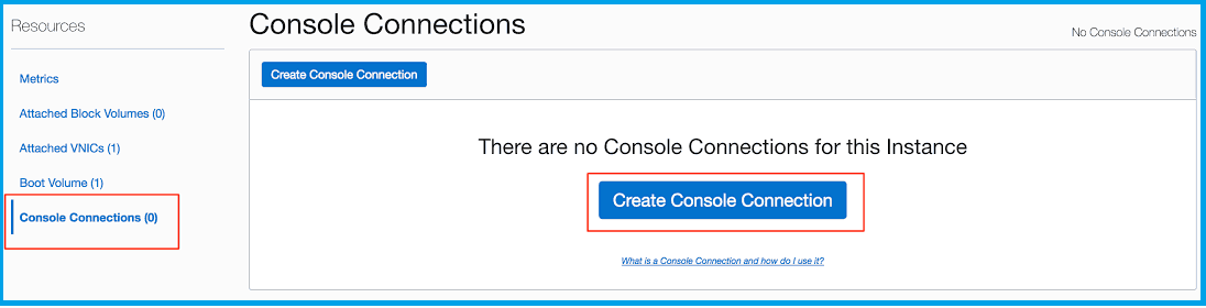 instance console connection