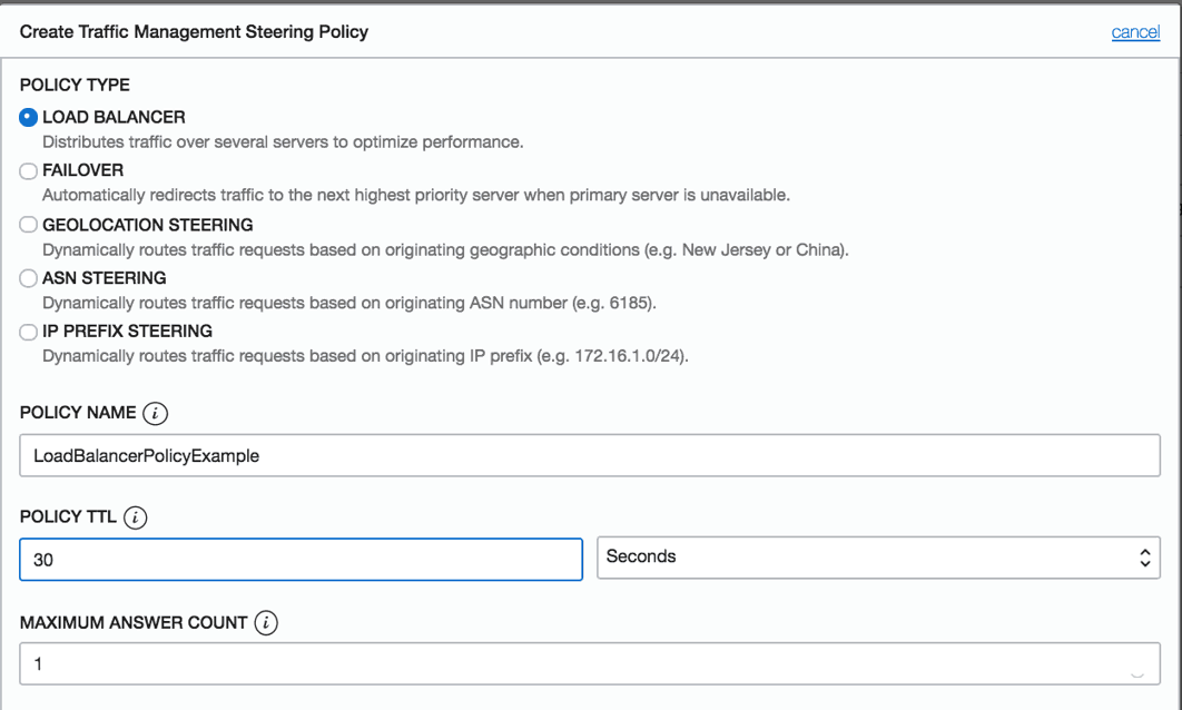 Load balancer steering policy