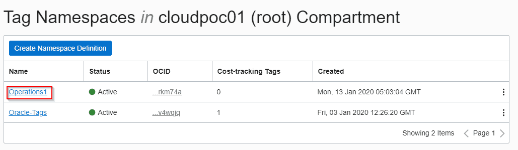 selecting namspace to create tag