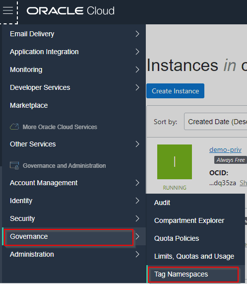 creating tag namespace
