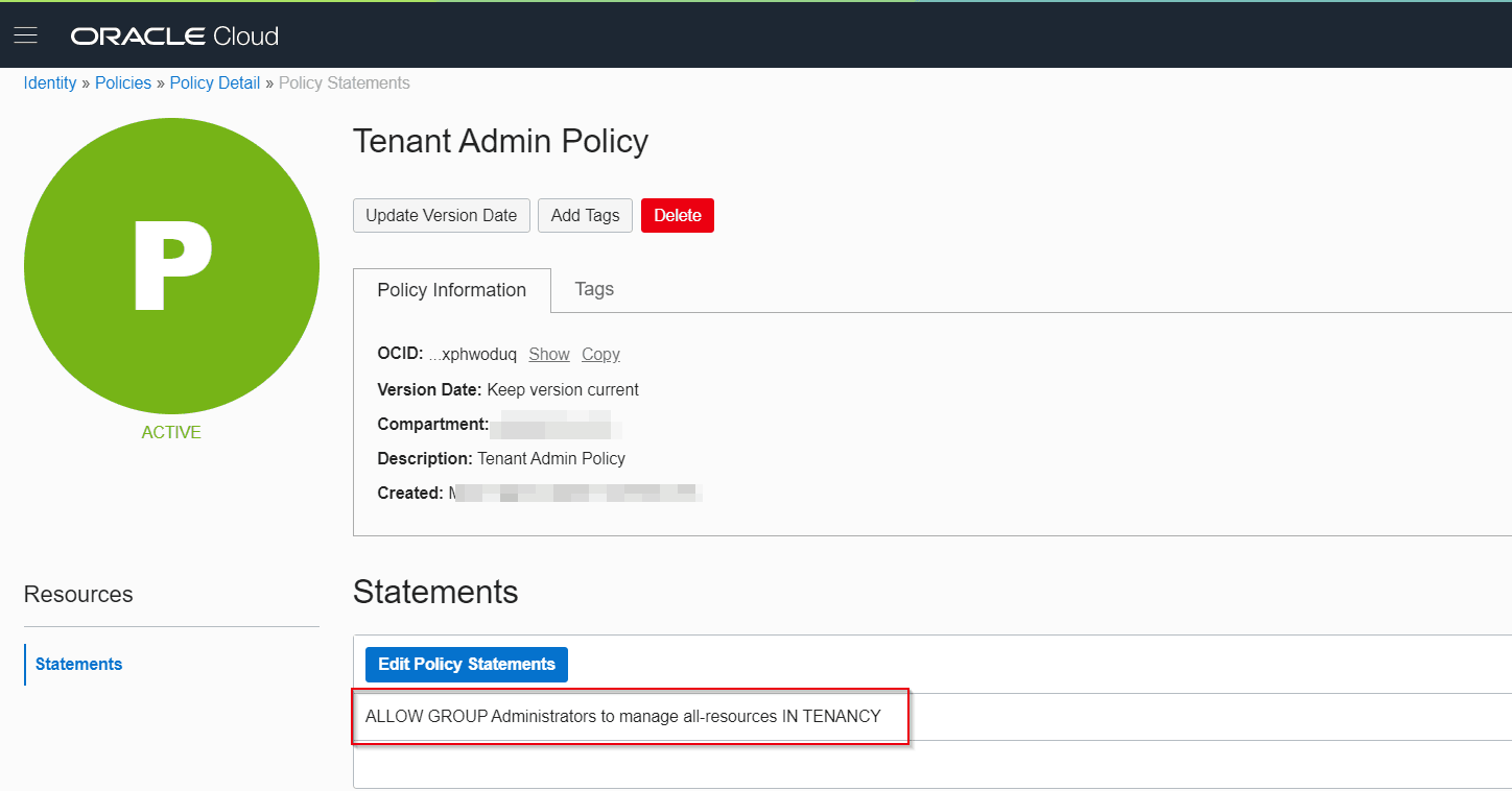 Overview of Policy in Oracle Cloud