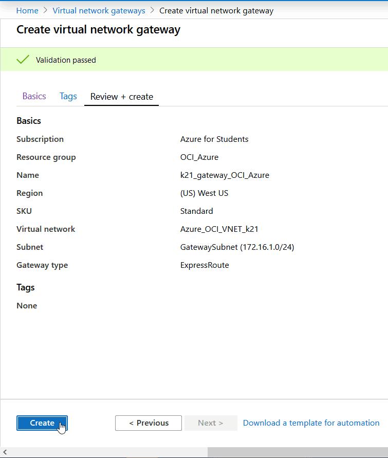 Virtual Network Gateway
